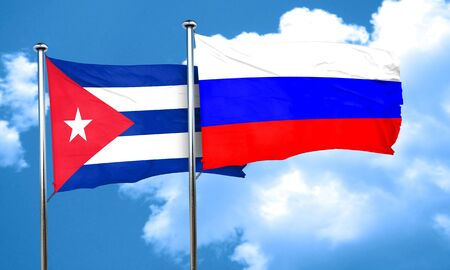 cuban flag: Cuba flag with Russia flag, 3D rendering Stock Photo
