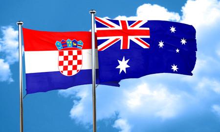 bandera croacia: Bandera de Croacia con la bandera de Australia, 3D