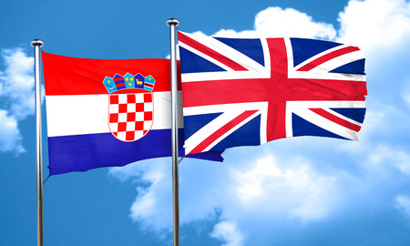 bandera croacia: croatia flag with Great Britain flag, 3D rendering