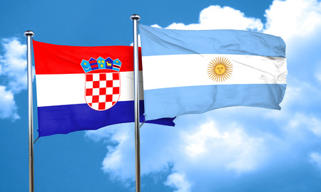 argentine: croatia flag with Argentine flag, 3D rendering