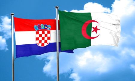 croatia flag: croatia flag with Algeria flag, 3D rendering Stock Photo