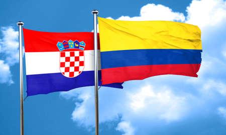 bandera croacia: Bandera de Croacia con la bandera de Colombia, 3D