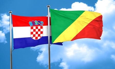bandera croacia: Bandera de Croacia con la bandera de congo, 3D