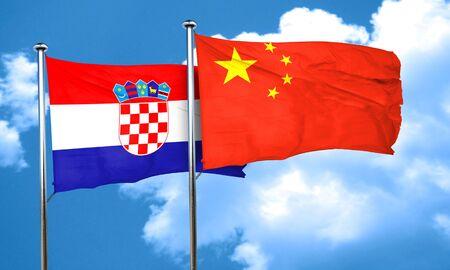 bandera croacia: Bandera de Croacia con la bandera de China, 3D Foto de archivo