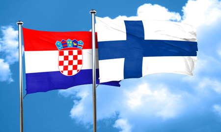 bandera croacia: Bandera de Croacia con la bandera de Finlandia, 3D