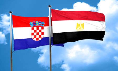bandera de croacia: Bandera de Croacia con la bandera de Egipto, 3D Foto de archivo