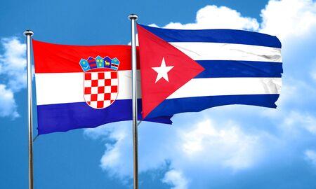 bandera croacia: Bandera de Croacia con la bandera de Cuba, 3D