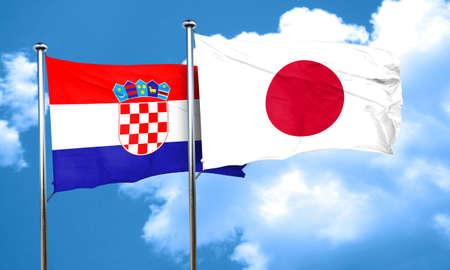 bandera croacia: Bandera de Croacia con la bandera de Jap�n, 3D Foto de archivo