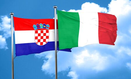 bandera de croacia: Bandera de Croacia con la bandera de Italia, 3D Foto de archivo