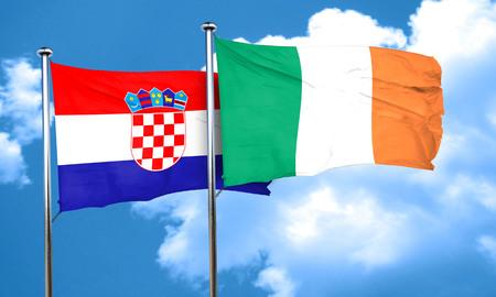 bandera croacia: Bandera de Croacia con la bandera de Irlanda, 3D