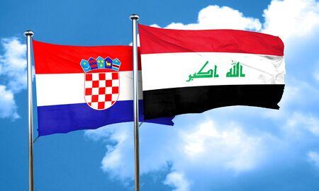 bandera de croacia: Bandera de Croacia con la bandera de Irak, 3D Foto de archivo