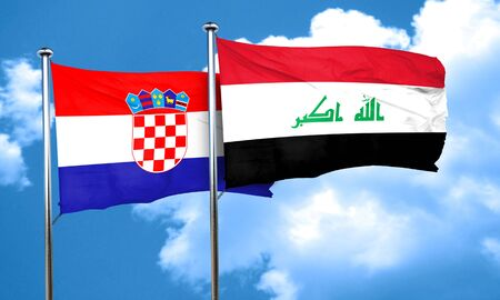 iraq flag: croatia flag with Iraq flag, 3D rendering