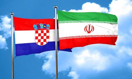bandera croacia: Bandera de Croacia con la bandera de Ir�n, 3D
