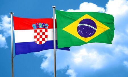 bandera croacia: Bandera de Croacia con la bandera de Brasil, 3D