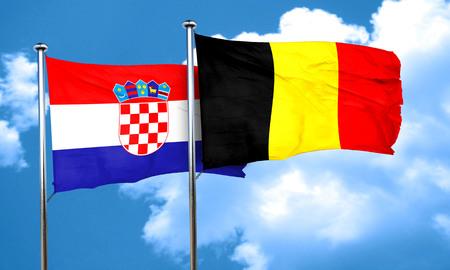 bandera croacia: Bandera de Croacia con la bandera de Bélgica, 3D Foto de archivo