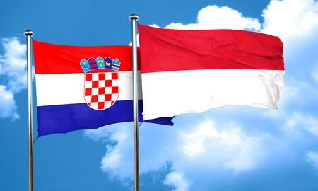 bandera croacia: Bandera de Croacia con la bandera de Indonesia, 3D