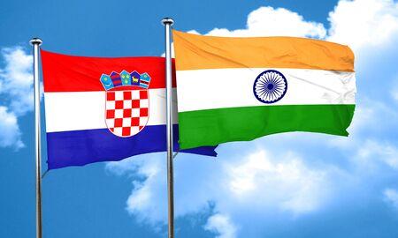 bandera de croacia: Bandera de Croacia con la bandera de la India, 3D