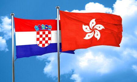 bandera de croacia: Bandera de Croacia con la bandera de Hong Kong, 3D