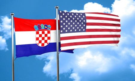 bandera croacia: Bandera de Croacia con la bandera americana, 3D