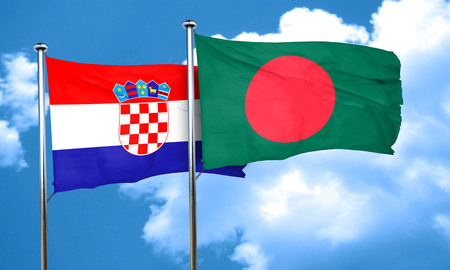 bandera croacia: Bandera de Croacia con la bandera de Bangladesh, 3D
