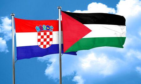 palestine: croatia flag with Palestine flag, 3D rendering