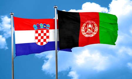 afghan: croatia flag with afghanistan flag, 3D rendering