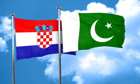 pakistan flag: croatia flag with Pakistan flag, 3D rendering