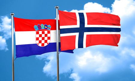 norway flag: croatia flag with Norway flag, 3D rendering