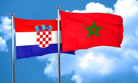 croatia: croatia flag with Morocco flag, 3D rendering Stock Photo