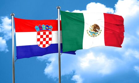 bandera croacia: croatia flag with Mexico flag, 3D rendering Foto de archivo
