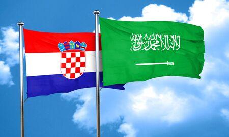 bandera croacia: croatia flag with Saudi Arabia flag, 3D rendering