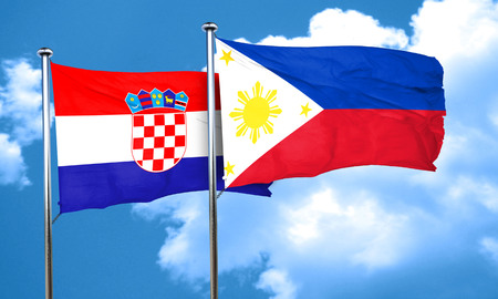 croatia flag: croatia flag with Philippines flag, 3D rendering