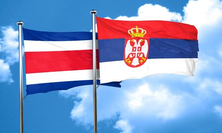 serbia flag: Costa Rica flag with Serbia flag, 3D rendering