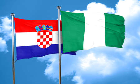 bandera croacia: croatia flag with Nigeria flag, 3D rendering