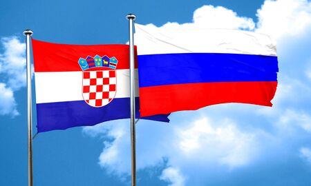 bandera croacia: Bandera de Croacia con la bandera de Rusia, 3D