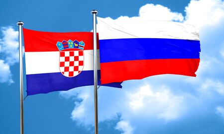 russia flag: croatia flag with Russia flag, 3D rendering Stock Photo