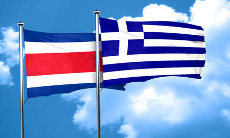 rican: Costa Rica flag with Greece flag, 3D rendering