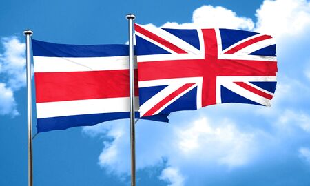 british culture: Costa Rica flag with Great Britain flag, 3D rendering Stock Photo