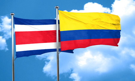 Costa Rica flag with Colombia flag, 3D rendering Stock Photo
