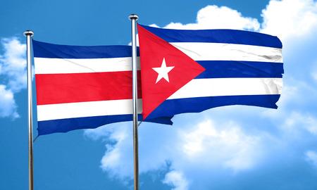 cuba flag: Costa Rica flag with cuba flag, 3D rendering