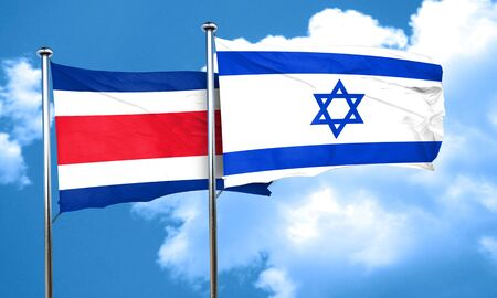 rican: Costa Rica flag with Israel flag, 3D rendering