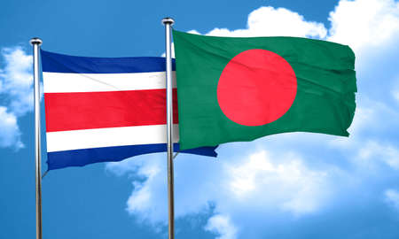 bangladesh 3d: Costa Rica flag with Bangladesh flag, 3D rendering