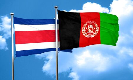 afghanistan flag: Costa Rica flag with afghanistan flag, 3D rendering Stock Photo