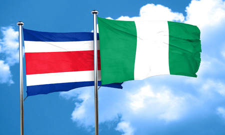 costa rican flag: Costa Rica flag with Nigeria flag, 3D rendering