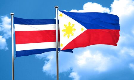rican: Costa Rica flag with Philippines flag, 3D rendering Stock Photo