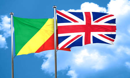 great britain flag: Congo flag with Great Britain flag, 3D rendering Stock Photo