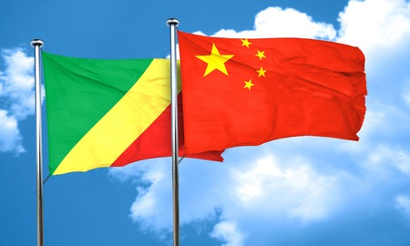 congo: Congo flag with China flag, 3D rendering Stock Photo