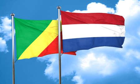 netherlands flag: Congo flag with Netherlands flag, 3D rendering