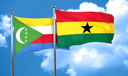 comoros: Comoros flag with Ghana flag, 3D rendering
