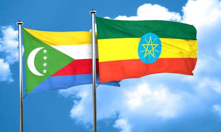 comoros: Comoros flag with Ethiopia flag, 3D rendering Stock Photo